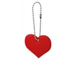 Reflexní plastový přívěsek na klíče tvaru srdce HEARTIVE - červená