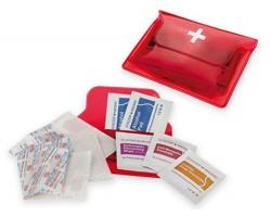 Cestovní lékárnička LOU v plastovém pouzdře - transparentní červená