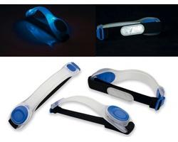 Silikonovo-textilní pásek se 2 modrými LED světly BEHOLD - modrá