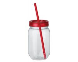 Plastová lahev STRAW s brčkem a víčkem - červená