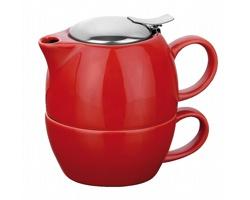 Keramická konvička COLE se sítkem na čaj a šálkem, 400ml - červená