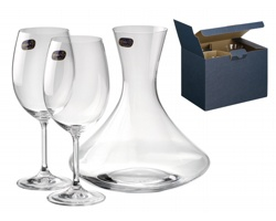 Sada karafy a sklenic Bohemia WINE SET, 3ks, 450 ml - transparentní
