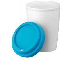 Porcelánový hrnek DUWAL se silikonovým víčkem, 210ml - světle modrá