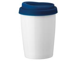 Porcelánový hrnek DUWAL se silikonovým víčkem, 280 ml - modrá