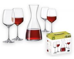 Skleněná sada karafy Bohemia DECANTY a 4 sklenic, 1200 ml - transparentní