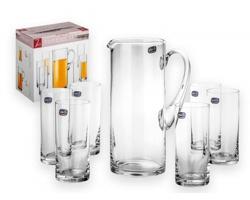 Sada skleněného džbánu Bohemia LEMONADE SET a 6 sklenic, 1500 ml - transparentní