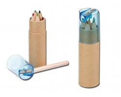 Dřevěné pastelky DEGAS v tubě s ořezávátkem, 6ks - světle modrá