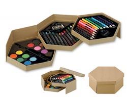 Skládací sada na kreslení a malování COLOR WORLD, s 28 doplňky - přírodní