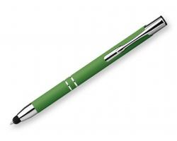 Kovové kuličkové pero OLEG TOUCH SOFT s pogumovaným povrchem - světle zelená