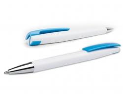Plastové kuličkové pero VIRGO s klipem - světle modrá