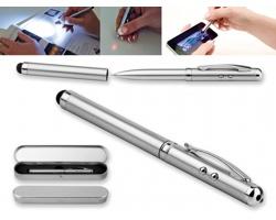 Multifunkční kovové kuličkové pero s LED svítilnou LAPOINT, v kovové krabičce - saténově stříbrná
