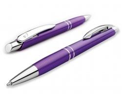 Plastové kuličkové pero Santini MARIETA PLASTIC s kovovým klipem a modrou náplní - fialová
