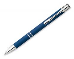 Kovové kuličkové pero OLEG SOFT s pogumovaným povrchem - modrá