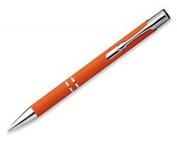 Kovové kuličkové pero OLEG SOFT s pogumovaným povrchem - oranžová
