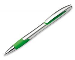 Plastové kuličkové pero MILEY SILVER s 0,7 mm náplní s nízkou viskozitou - světle zelená