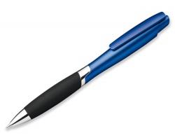 Plastové kuličkové pero DELORA s měkkým úchopem a náplní s nízkou viskozitou - modrá