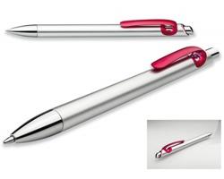 Plastové kuličkové pero CURLY s barevným klipem - červená