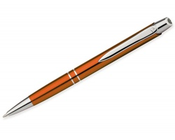 Kovové kuličkové pero Santini MARIETA METALIC s klipem - oranžová