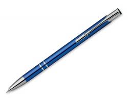 Kovové kuličkové pero OLEG SLIM s modrou náplní s nízkou viskozitou - tmavě modrá