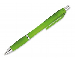 Plastové kuličkové pero DARBY FROSTY s klipem - světle zelená