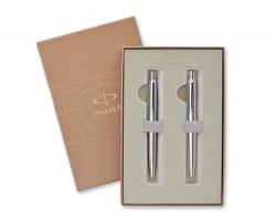 Značková sada kovového kuličkového pera a mikrotužky Parker JOTTER STEEL SET v dárkové kazetě - stříbrná