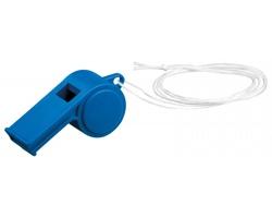 Plastová píšťalka ARBITER s textilní šňůrkou - modrá