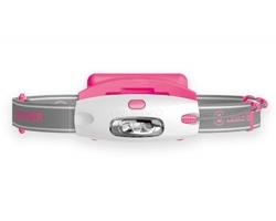 Značková plastová LED čelovka Lenser NEOLAMPY s výdrží až 10 hodin - světle růžová