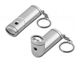 Plastová LED svítilna MURIEL s otočnou hlavou a kroužkem na klíče - saténově stříbrná