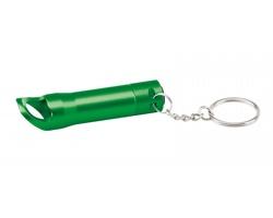 Kovová LED svítilna TORCHEN s otvírákem a kroužkem na klíče - zelená