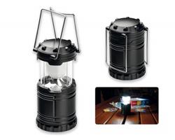 Plastová skládací LED svítilna LANTERN s kovovými úchyty - černá