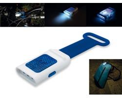 Plastová LED svítilna s odrazkou SEE a silikonovým úchytem - tmavě modrá