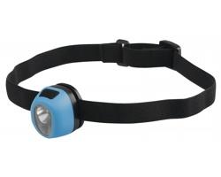 Plastová vodotěsná čelovka HADIR s elastickým popruhem - světle modrá