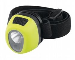 Plastová vodotěsná čelovka HADIR s elastickým popruhem - světle zelená