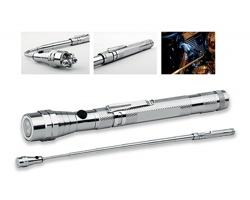 Kovová teleskopická 3 LED svítilna NOBEND s magnetem a klipem - stříbrná
