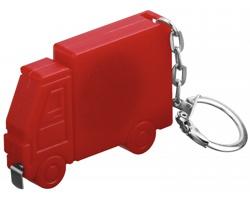 Plastový metr ve tvaru auta SPRINTER s kroužkem na klíče, 1m - červená