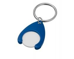 Plastový přívěšek na klíče PORTHOS PLASTIC s žetonem - modrá