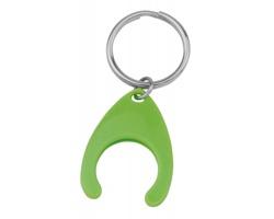 Plastový přívěšek na klíče PORTHOS PLASTIC s žetonem - světle zelená