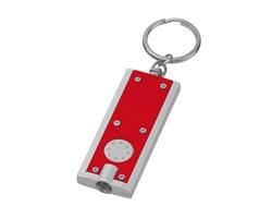 Plastová LED svítilna HUDSON s kroužkem na klíče - červená