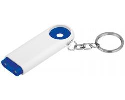 Plastový přívěsek na klíče TOKEN s LED svítilnou a žetonem do nákupního vozíku - modrá