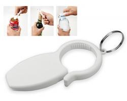 Plastový multifunkční otvírák na láhve REZA, 3 funkce - bílá