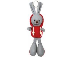 Reflexní přívěsek na klíče MATTY ve tvaru zajíce - červená