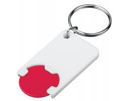 Plastový přívěsek na klíče žeton do nákupního vozíku CHIPSY, vel. 1 €, 5 Kč - červená