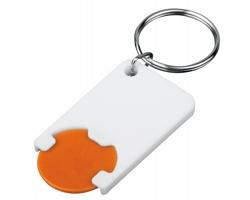 Plastový přívěsek na klíče žeton do nákupního vozíku CHIPSY, vel. 1 €, 5 Kč - oranžová