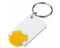 Plastový přívěsek na klíče žeton do nákupního vozíku CHIPSY, vel. 1 €, 5 Kč - žlutá