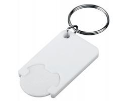 Plastový přívěsek na klíče žeton do nákupního vozíku CHIPSY, vel. 1 €, 5 Kč - bílá
