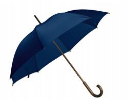 Vystřelovací deštník AUTOMATIC s dřevěnou rukojetí - tmavě modrá