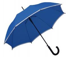 Polyesterový vystřelovací deštník MEGAN s reflexním pruhem 8 panelů - královská modrá