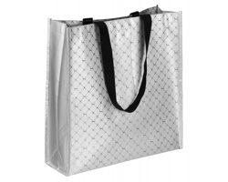 Netkaná nákupní taška Santini MARVELL - saténově stříbrná
