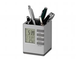 Stojánek na tužky FABRIZIO s hodinami - saténově stříbrná