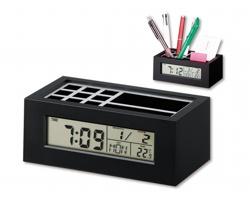 Stojánek na tužky KEANU s digitálními hodinami - černá